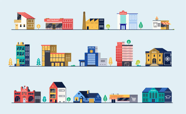 Set of city buildings Set of city buildings. Bank, hospital, fire station, police station, shops and restaurants. Vector illustration banking silhouettes stock illustrations