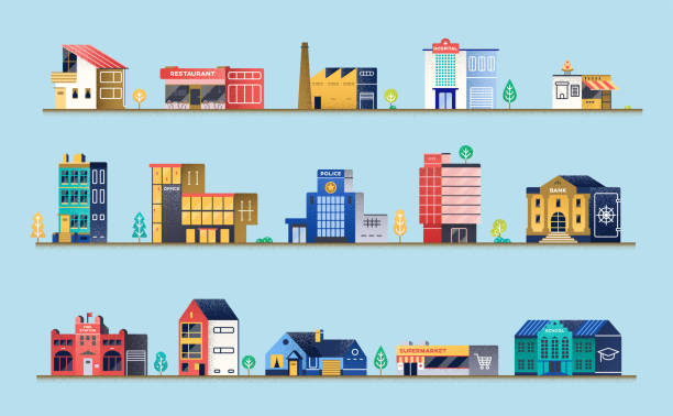 stockillustraties, clipart, cartoons en iconen met aantal gebouwen van de stad - warenhuis