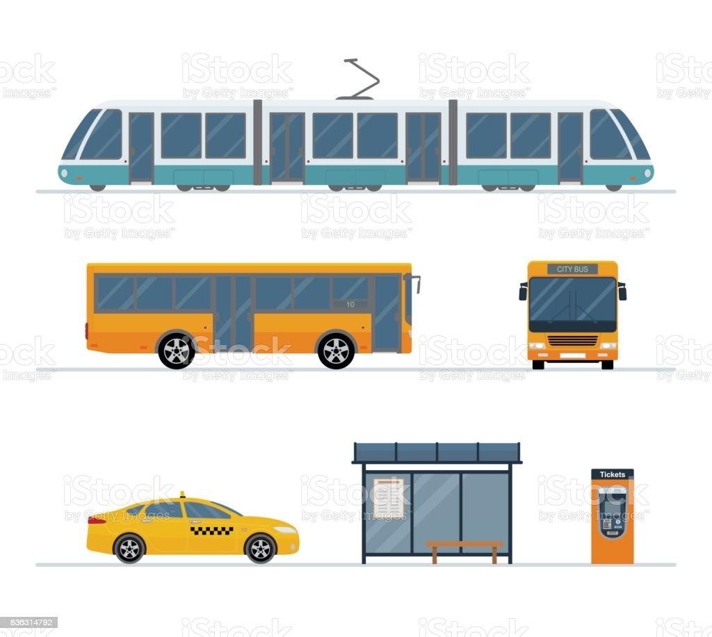 Jeu de bus de la ville, taxi, tramway et bus stop isolé sur fond blanc. - Illustration vectorielle