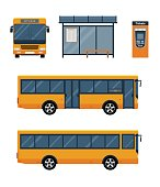 Set of city bus with front and side view, bus stop and ticket machine.
