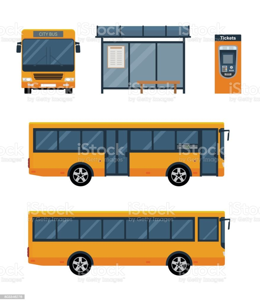 Set of city bus with front and side view, bus stop and ticket machine. vector art illustration