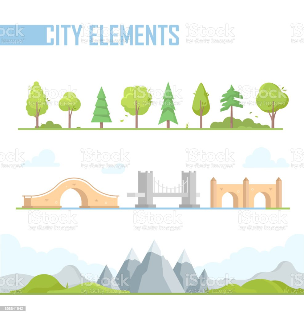 Set of city elements - modern vector cartoon isolated illustration vector art illustration