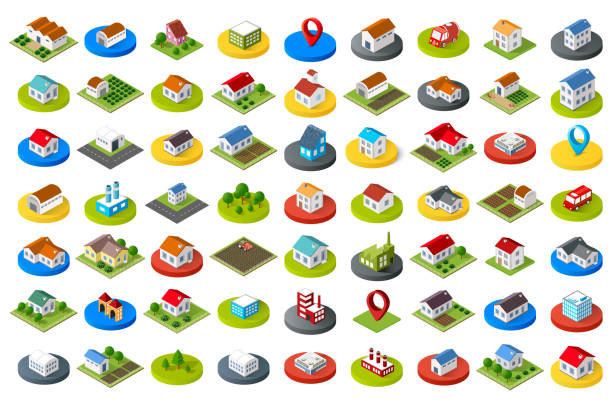 Set of city icons vector art illustration