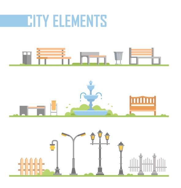 set of city park elements - modern vector cartoon isolated illustration - fontanna stock illustrations