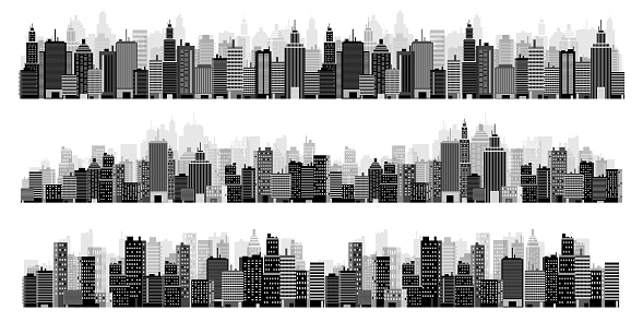 Set of city silhouettes. Cityscape. Town skyline. Panorama. Midtown houses skyscrapers. Vector illustration