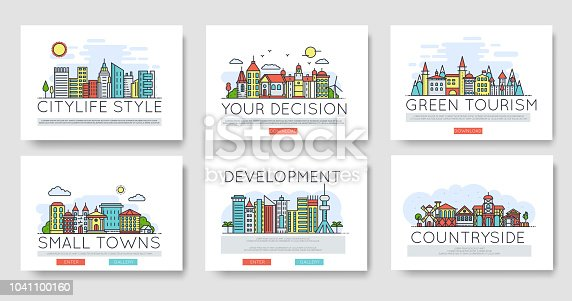 istock Set of city skylines and suburban different buildings in skyline. Thin line vector illustration design concept. 1041100160