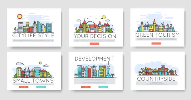 set of city skylines and suburban different buildings in skyline. thin line vector illustration design concept. - деловой центр города stock illustrations