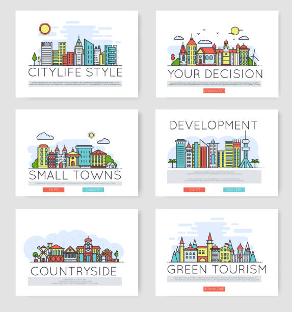 set of city skylines and suburban different buildings in skyline.  thin line vector illustration design concept - деловой центр города stock illustrations