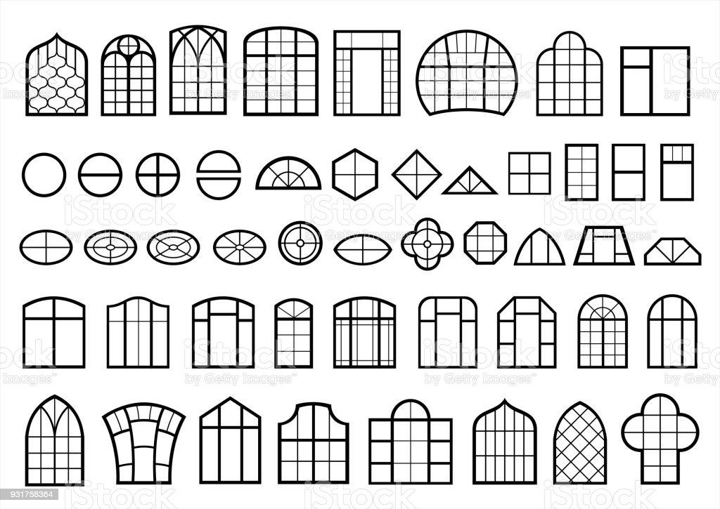 Set of classic and modern windows vector art illustration
