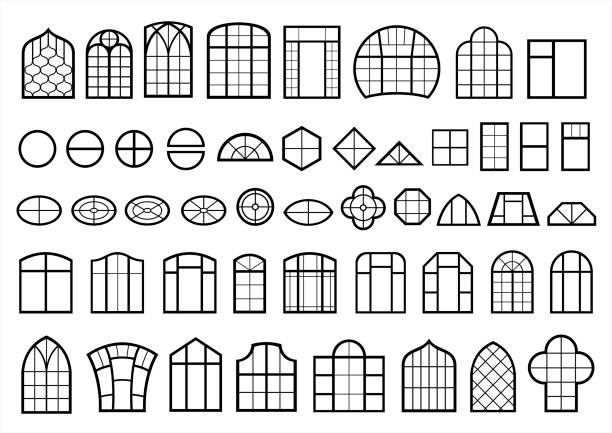 Set of classic and modern windows A set of classic and modern Windows. Icons signs symbols silhouettes. Vector graphics arch stock illustrations
