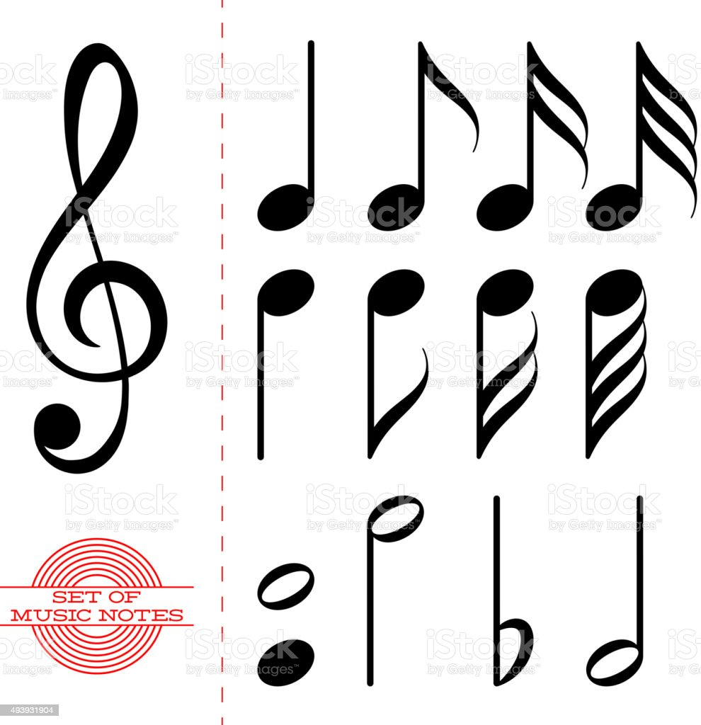 set of classic black music notes stock vector art more images of rh istockphoto com Thank You Clip Art Trumpet Notes