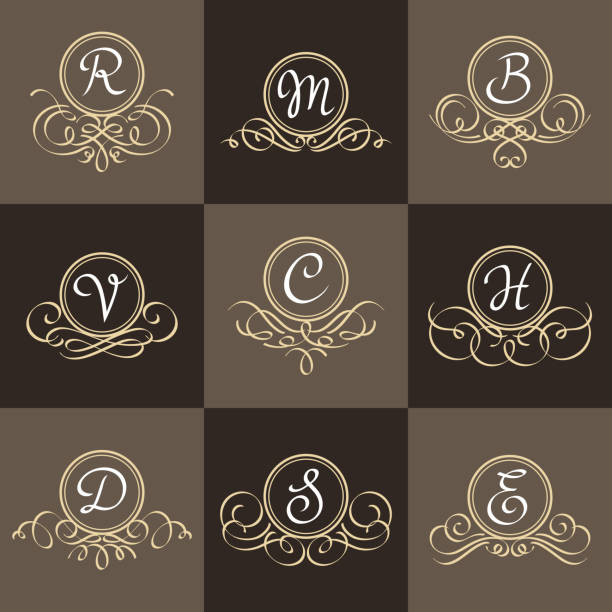 set of classic elegant frames - alphabet clipart stock illustrations