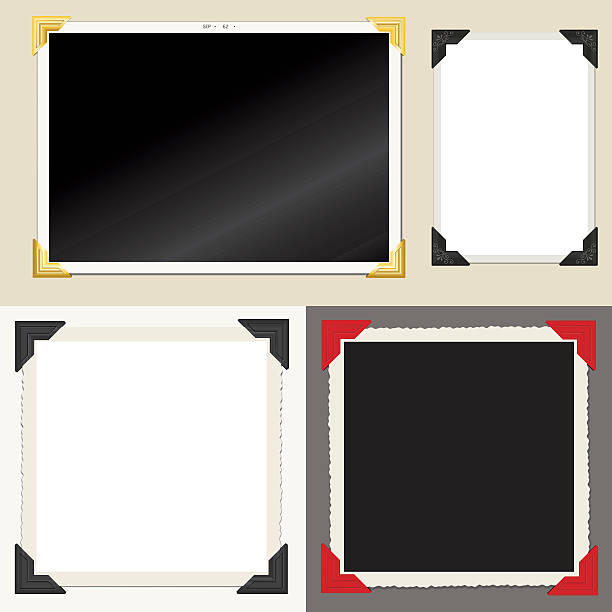 Set of classic empty photo frames Vector set of vintage style photos, with paper mounting corners. Shadows made with blends and on separate layer. photo album stock illustrations