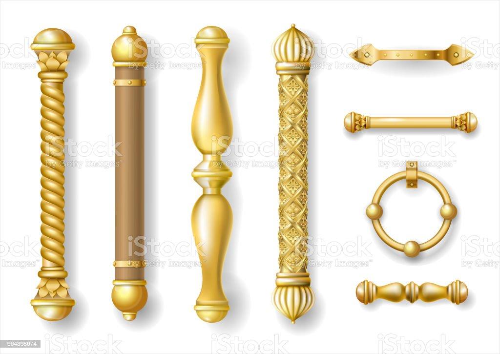 Conjunto de maçanetas de ouro clássico - Vetor de Acessório royalty-free