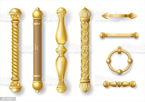 Vetores de Conjunto De Maçanetas De Ouro Clássico e mais imagens de Acessório