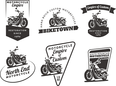 Set of classic motorcycle emblems, badges and icons.