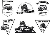 Set of classic off-road suv car emblems, badges and icons.