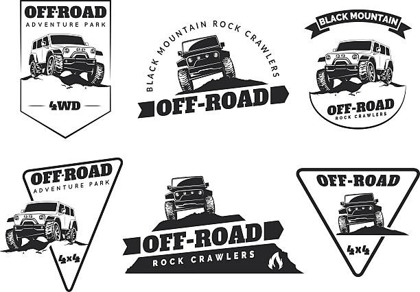 Set of classic off-road suv car emblems, badges and icons. vector art illustration
