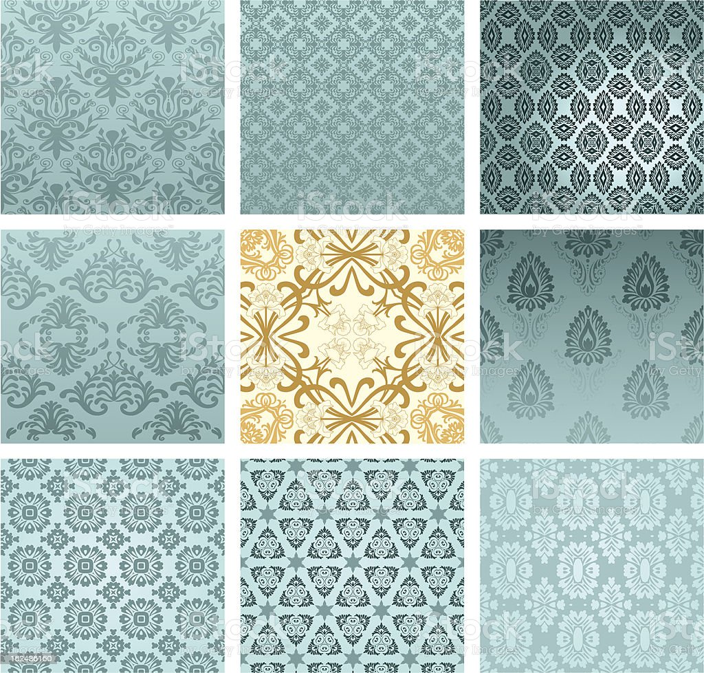 Set of classic patterns seamless wallpaper vector art illustration