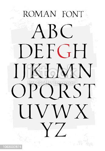 istock Set of classic roman font. Vector. Capital letters. Uneven ancient font. Letters symbols for the design of a poster, flyer or presentation. Signs for the symbol All letters are separate. 1063032874