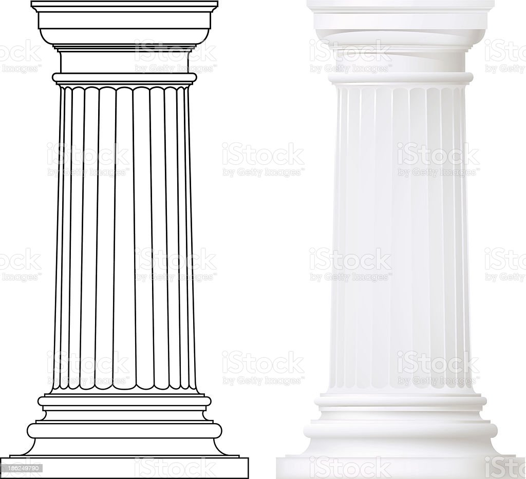 set of classic style columns vector art illustration