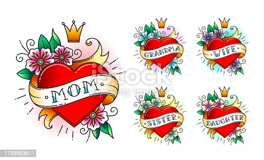 Set of Classic tattoo heart with flowers, crown and  ribbon with words -  mom, grandma, wife, sister, daughter. Classic old school American retro tattoo. Vector illustration.