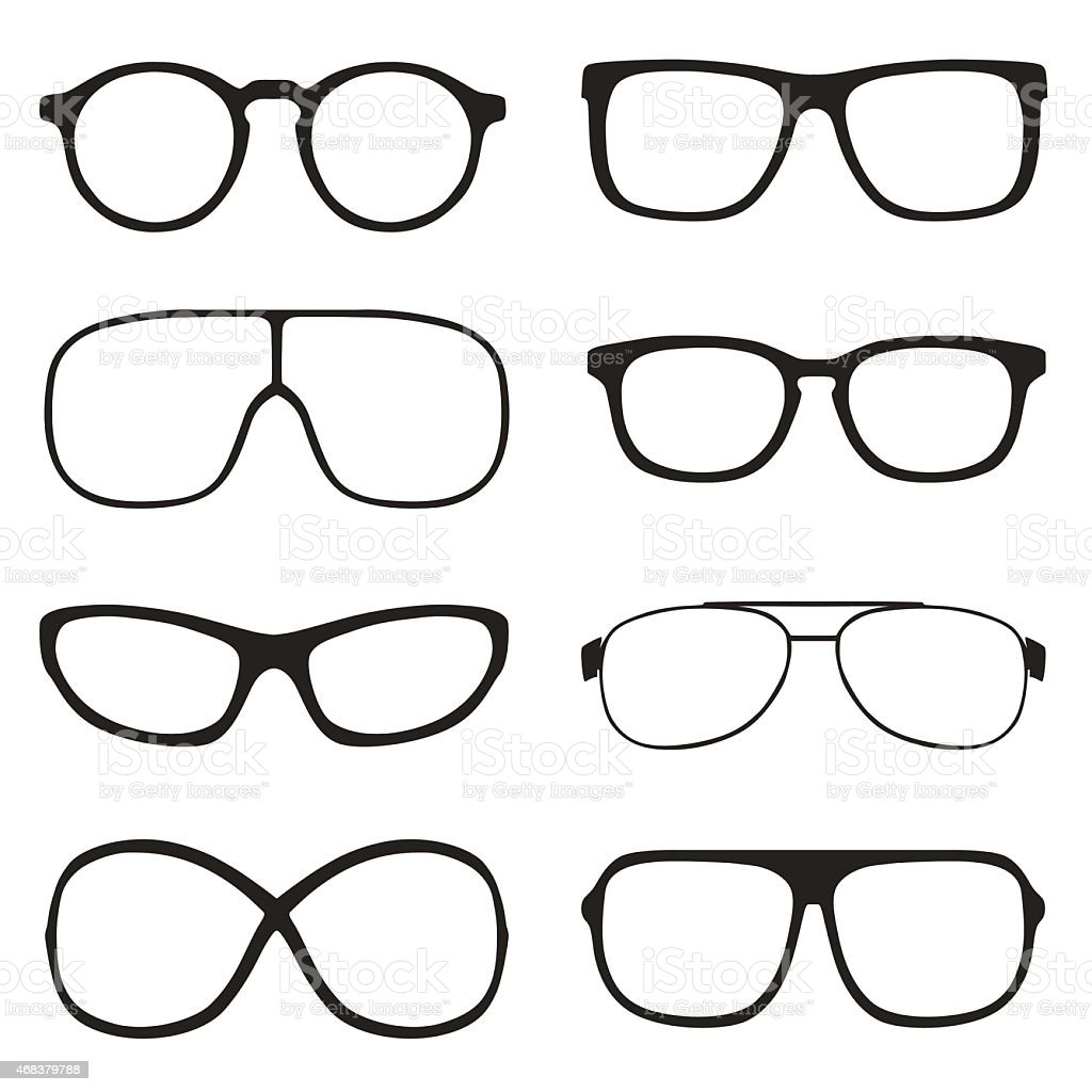 Set of classic vector glasses, isolated on white background vector art illustration