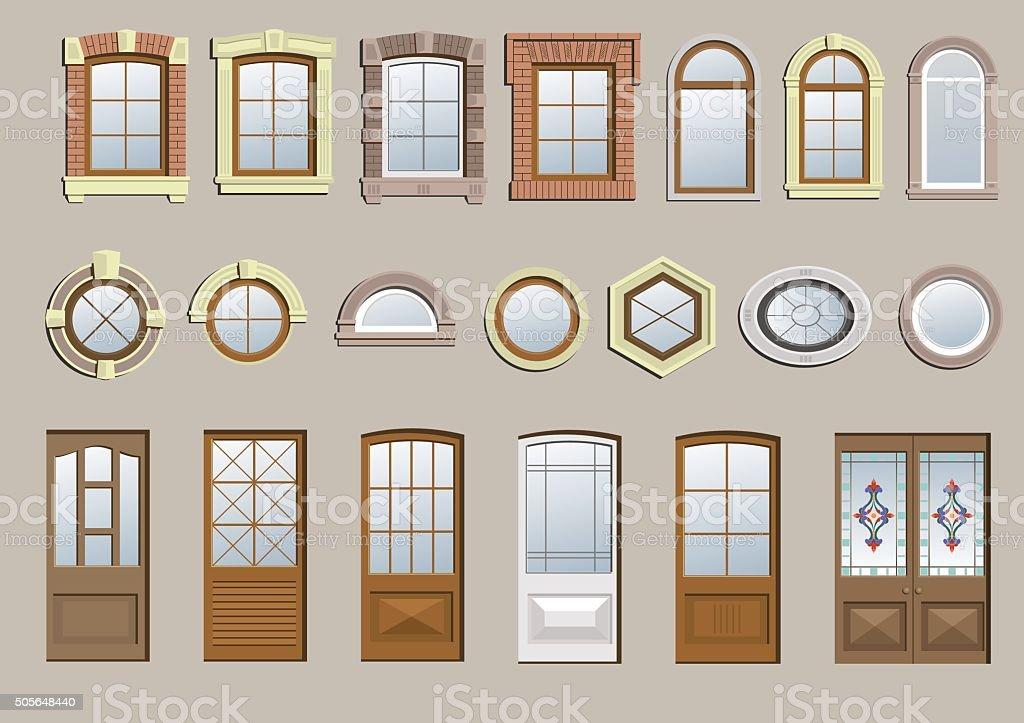 Set of classic windows vector art illustration