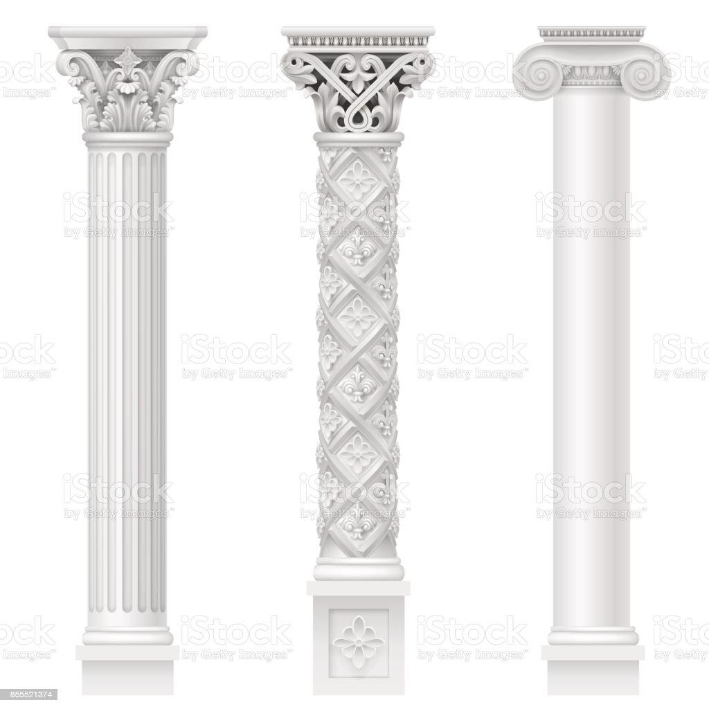 Set of classical columns vector art illustration