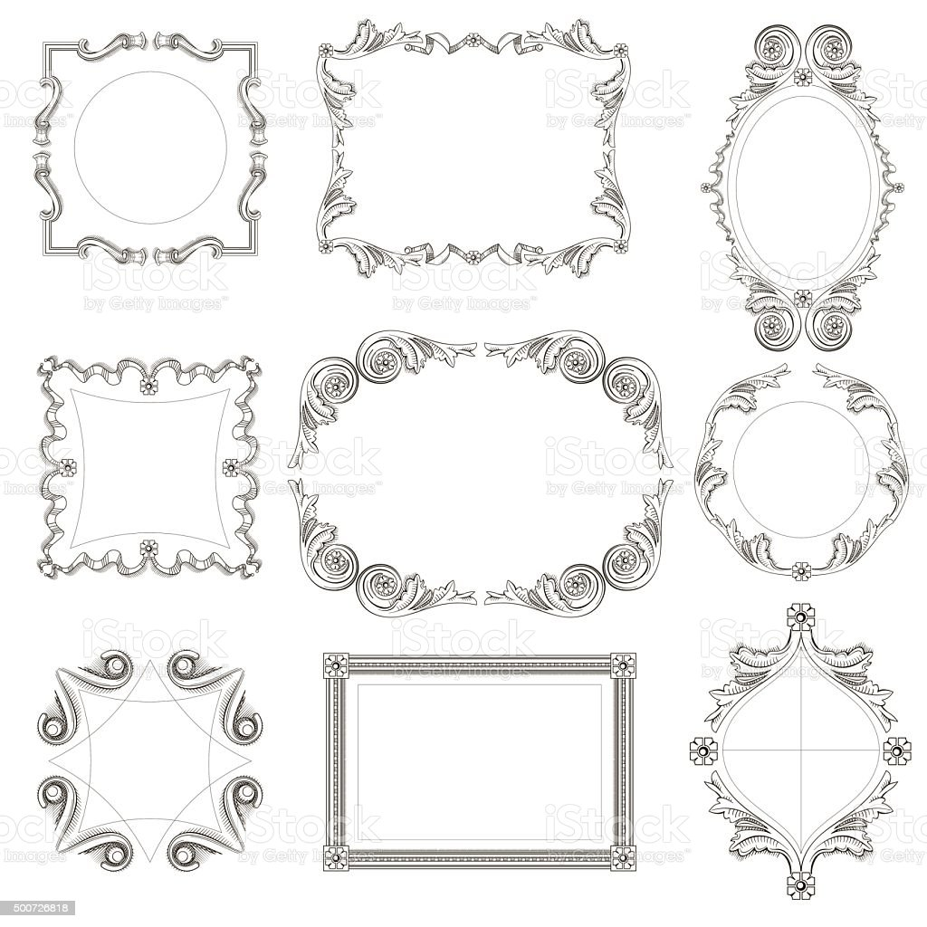 Set Of Classical Frames Stock Vector Art More Images Of Cut Out