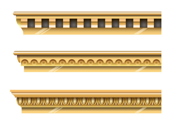 satz von klassischen gold gesimse - gesims stock-grafiken, -clipart, -cartoons und -symbole