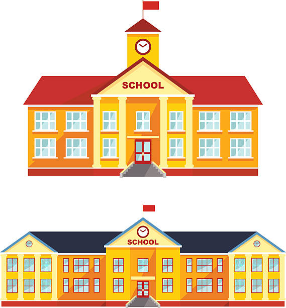Set of classical school building isolated on white background. Detailed illustration different variants of classical school building in a flat style. Vector illustration. schoolhouse stock illustrations