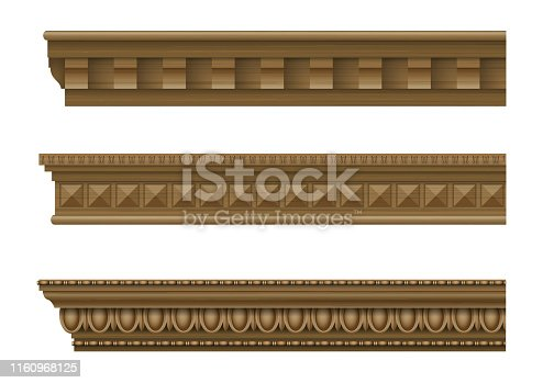 A set of classical cornices for the walls of buildings. Wooden molding. Vector graphics