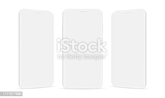 Set of clay mobile phones mockups isolated on white background. Vector illustration