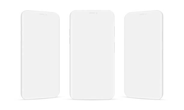 zestaw makiet telefonów komórkowych z gliny izolowanych na białym tle - glina stock illustrations