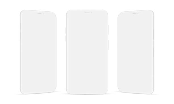 set of clay mobile phones mockups isolated on white background - лекало stock illustrations