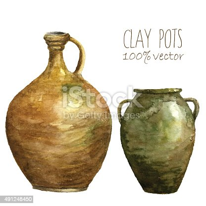 Watercolor clay pots. Hand draw isolated illustrations on white background. Vector art.