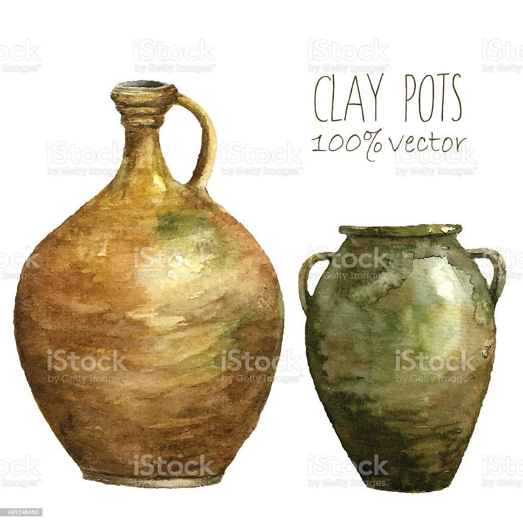 Juego de clay ollas pintados con watercolors. - ilustración de arte vectorial