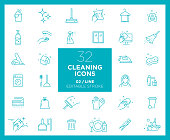 Set of Cleaning icons in line