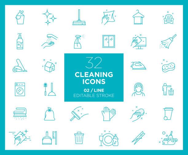 stockillustraties, clipart, cartoons en iconen met set van reiniging iconen in lijn - net