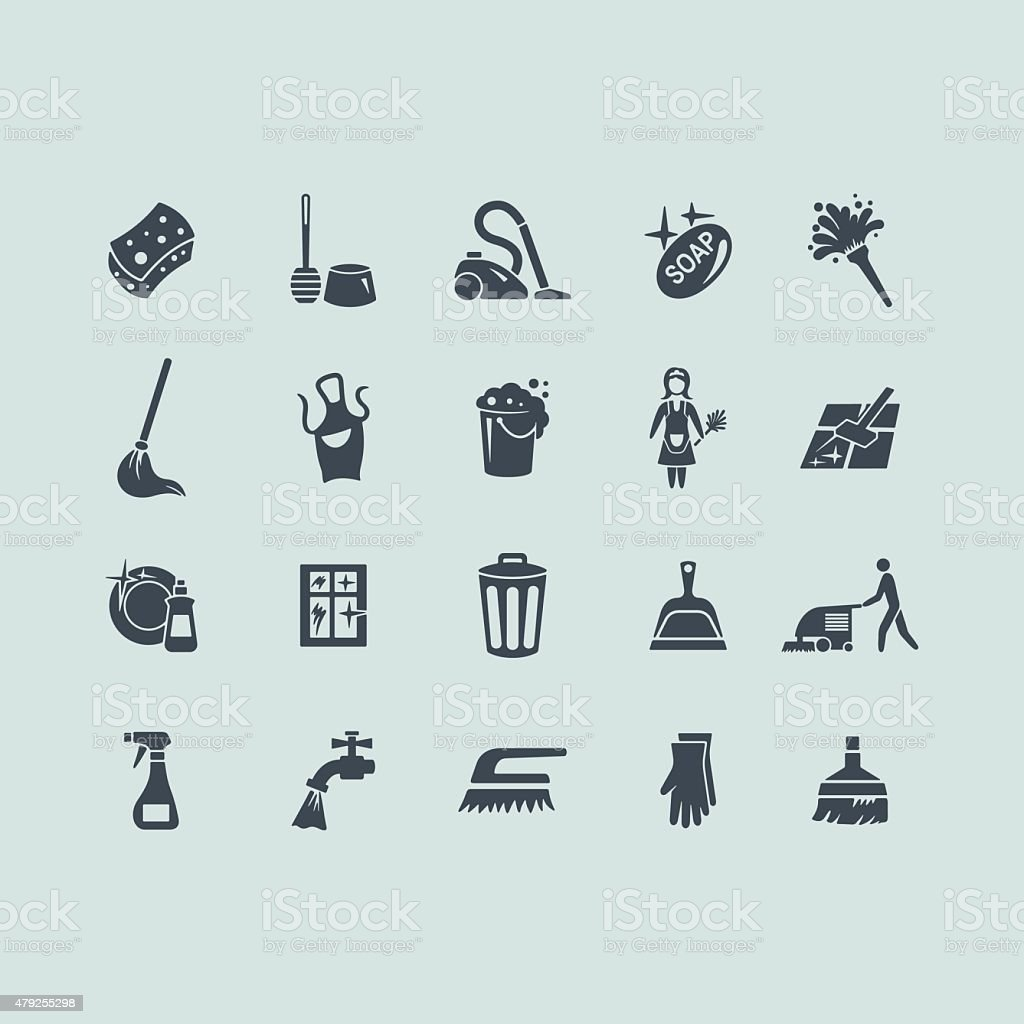 Set of cleaning icons vector art illustration