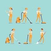 Set of cleaning people. Flat design vector illustration.