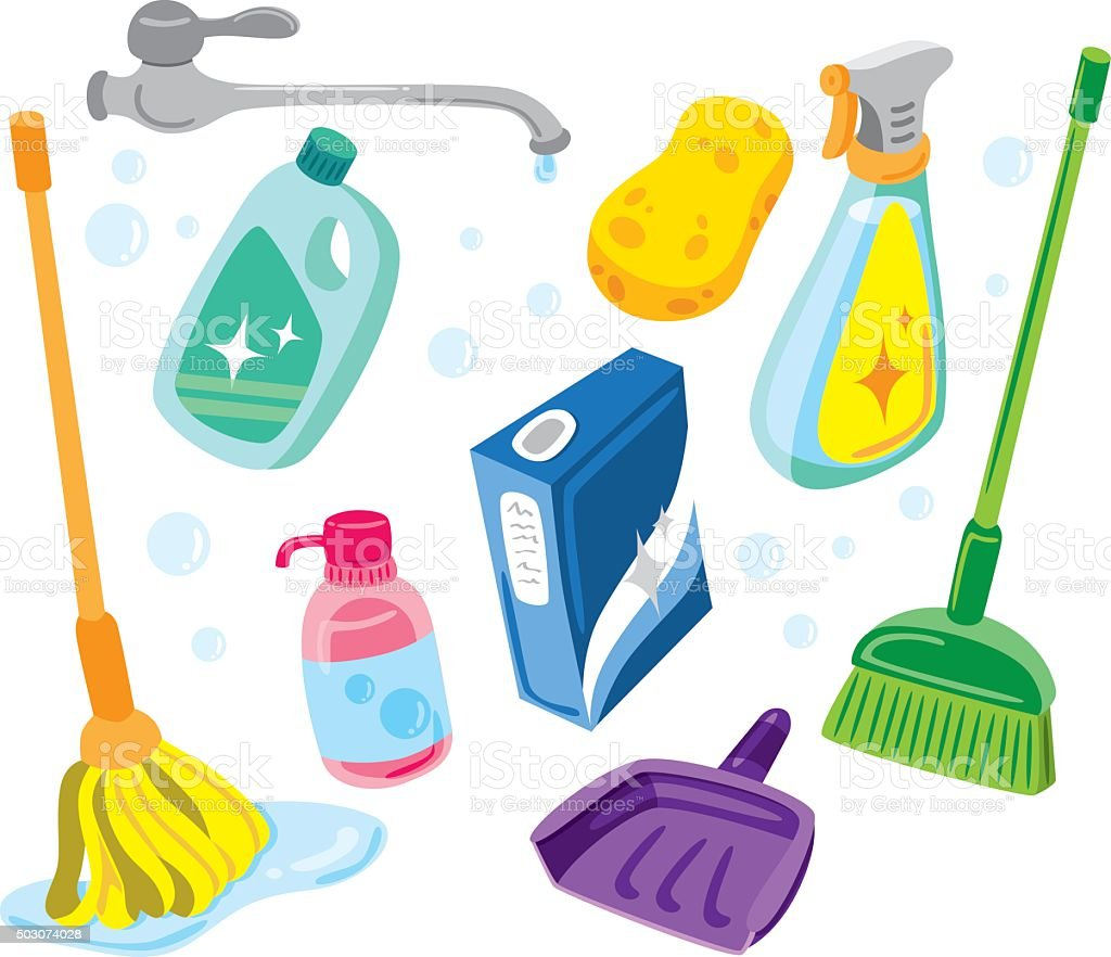 set of cleaning product vector art illustration