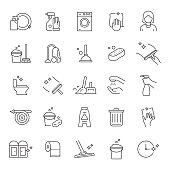 Set of Cleaning Related Line Icons. Editable Stroke. Simple Outline Icons.
