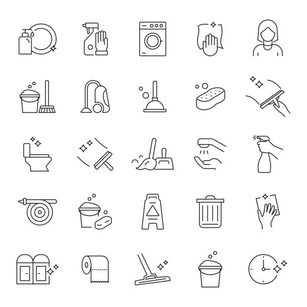 illustrations, cliparts, dessins animés et icônes de ensemble d'icônes de ligne connexes de nettoyage. accident vasculaire cérébral modifiable. icônes de contour simples. - raclette