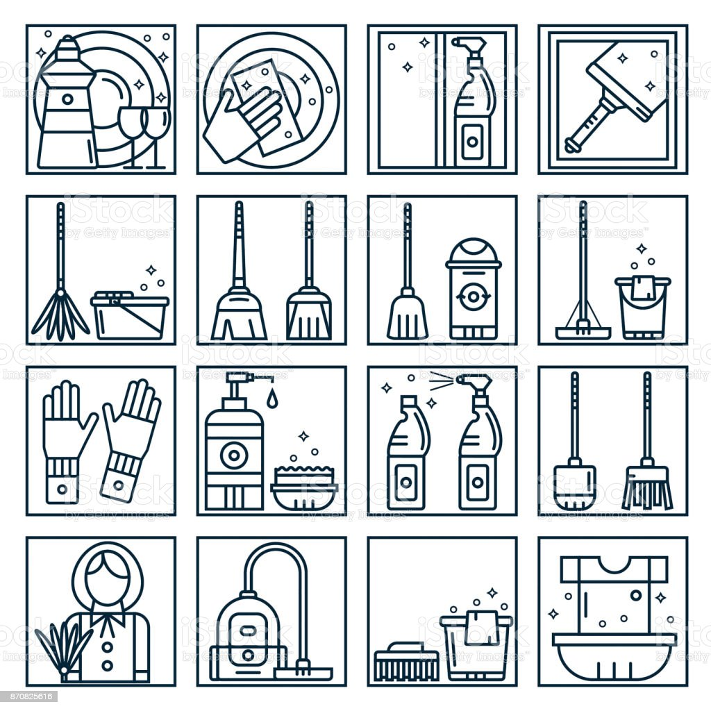 Set Of Cleaning Service Icons In Line Style Dish Floor Window
