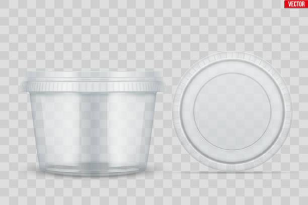 illustrazioni stock, clip art, cartoni animati e icone di tendenza di set of clear plastic container for food - gelato confezionato