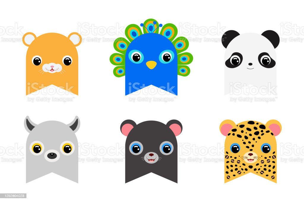 Set Of Clipart Wild Animal Flags Decoration For Baby Shower Birthday Party Nursery Wall Decor Printable Adorable Banner Flat Cartoon Colorful Vector Illustration Stock Illustration Download Image Now Istock