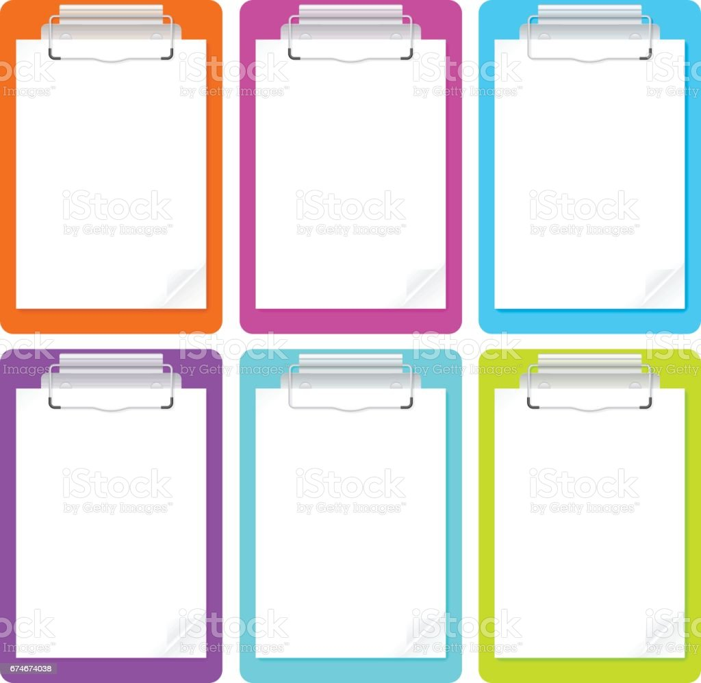 Set of clipboards with blank white paper. vector art illustration