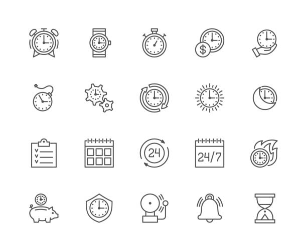 stockillustraties, clipart, cartoons en iconen met set van klok en time management lijn iconen. kalender, schema, checklist, zandloper en nog veel meer. - red